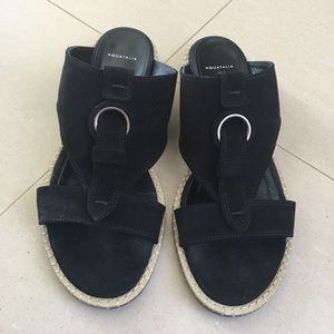 "Aquatalia Black Suede ""Tori"" Slip On Sandal 7.5M"